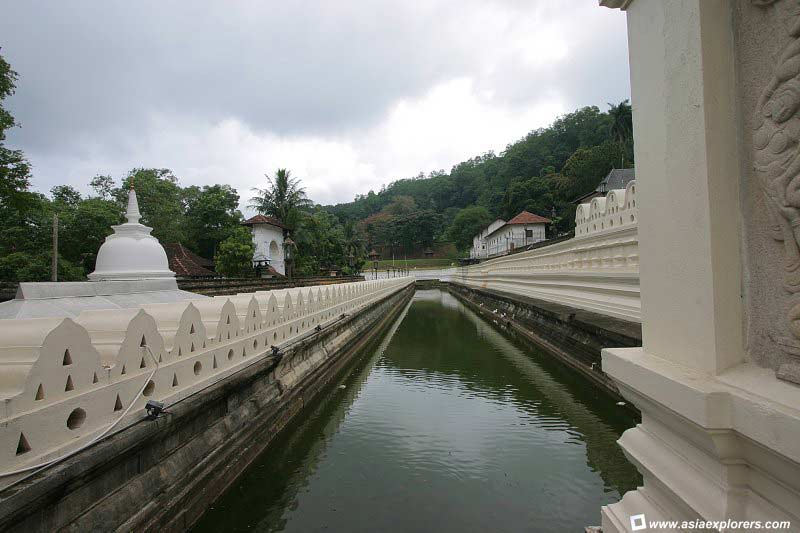 moat separating the temple from its outer compound