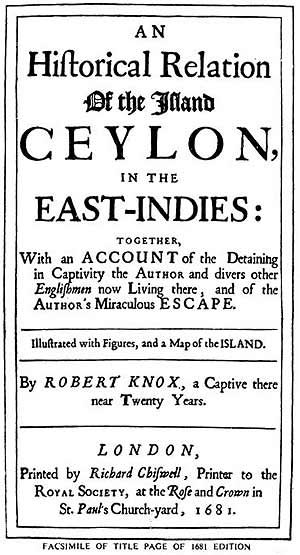 Facsimile of title page of Robert Knox's 1681 edition